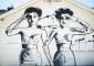 Graffiti z dwoma kobietami na budynku