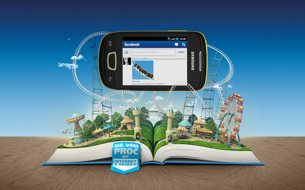Grafika przedstawiająca smartfona na kolejce górskiej