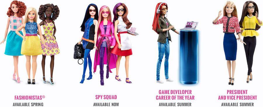 Przedstawione są lalki Barbie w roku 2016. Będą to Barbie o różnych figurach, Barbie szpieg, Barbie developerka gier komputerowych oraz seria President & Vice-President