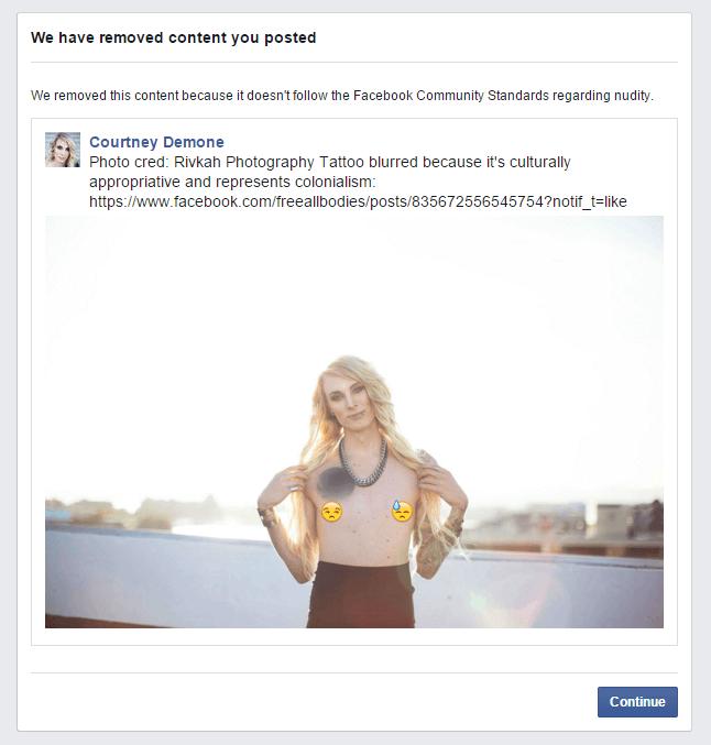 Zrzut ekranu przedstawiający informację od Facebook o usunięciu zdjęcia transseksualnej kobiety bez koszulki