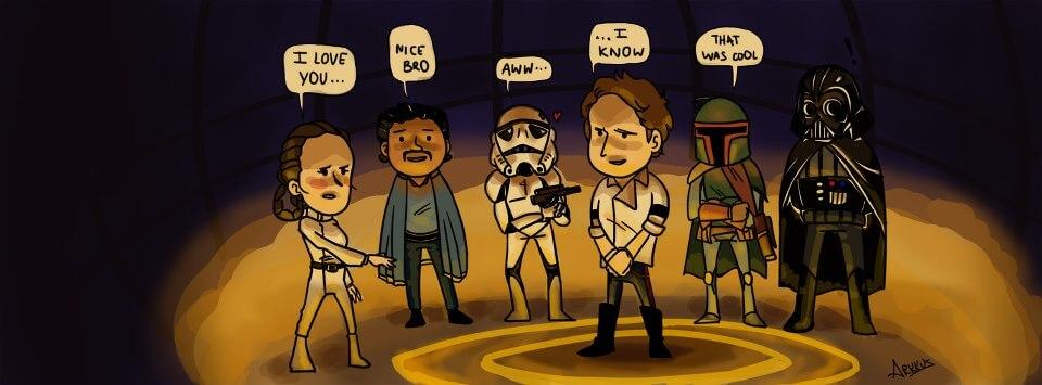 """Rysunkowa scena ze Star Wars . Leia: """"Kocham Ci.ę"""", Han Solo: """"Wiem"""". Pozostałe postacie: nice bro, aww, that was cool"""