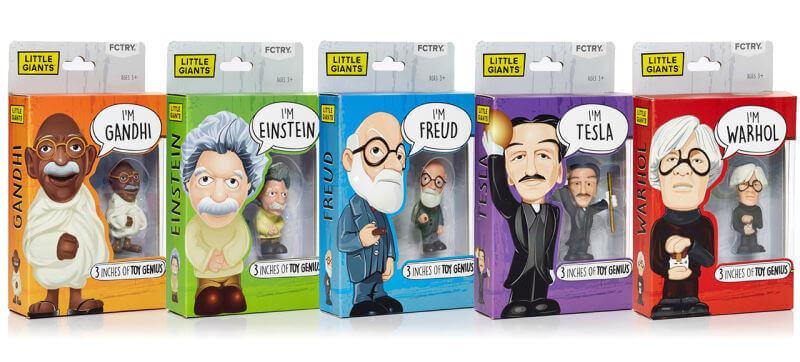 figurki zabawkowe z: Mahatma Gandhi, Albert Einstein, Sigmund Freud, Nikola Tesla oraz Andy Warhol